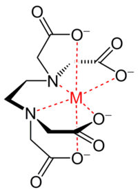 EDTA (black) with coordinate bonds to a metal ion (red)