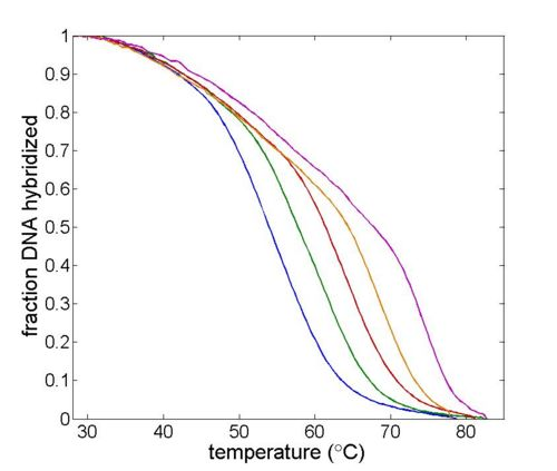Example DNA melting curves showing the effect of varying ionic strength. The data has been filtered to reduce noise.
