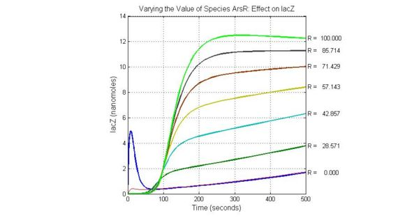 Fig.7 Varying the Value of Species ArsR Effect on lacZ