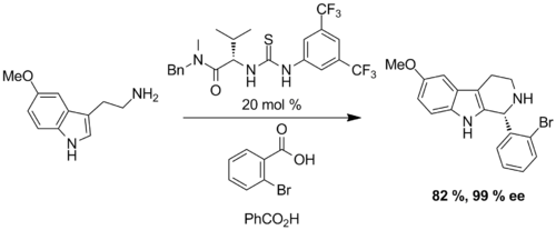 Scheme: (Jacobsen 2009). Thiourea and Benzoic Acid Catalyzed Pictet-Spengler Reaction