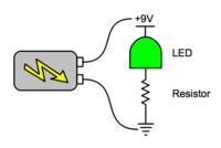 Diagram of basic LED circuit.