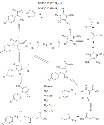 Figure 1: Synthesis Strategy initially proposed for lead compounds: TCMDC 123812 and  123794