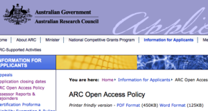 "ARC ""Green"" Open Access Policy released Jan 2013"