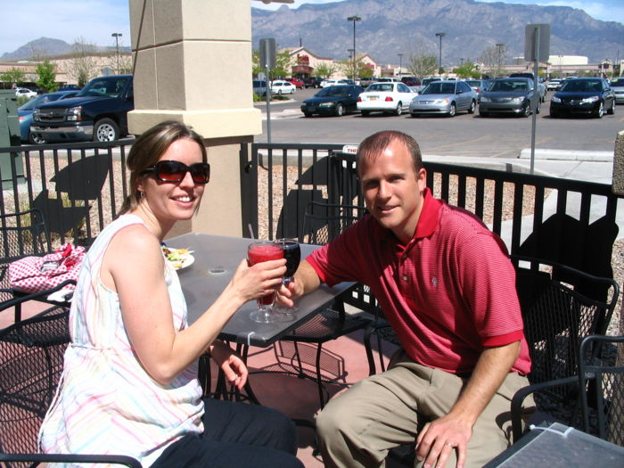 Katie and Steve take off from work to have a toast for Michael on a beautiful day in Albuquerque.  They didn't have Sierra Nevada Pale Ale, so Steve had a California Cab.  They reminisced about their good times with Michael, Melissa, and the gang in Ithaca.