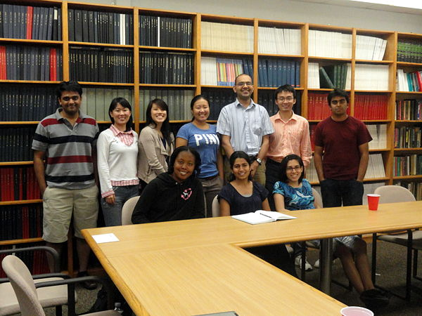 Lab members in ChBE Library, Summer 2010. Standing, from left: Ganesh, Yuting, Elena, Emily, Ashish, Xiaofeng, Tabish. Seated, from left: Whitney, Shilpa, Mandana. Absent: Ali, Maggie. Click for higher resolution.