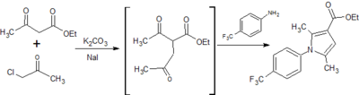 Figure 9: Synthesis of ethyl 2,5-dimethyl-1-[p-(trifluoromethyl)phenyl]-1H-pyrrole-3-carboxylate