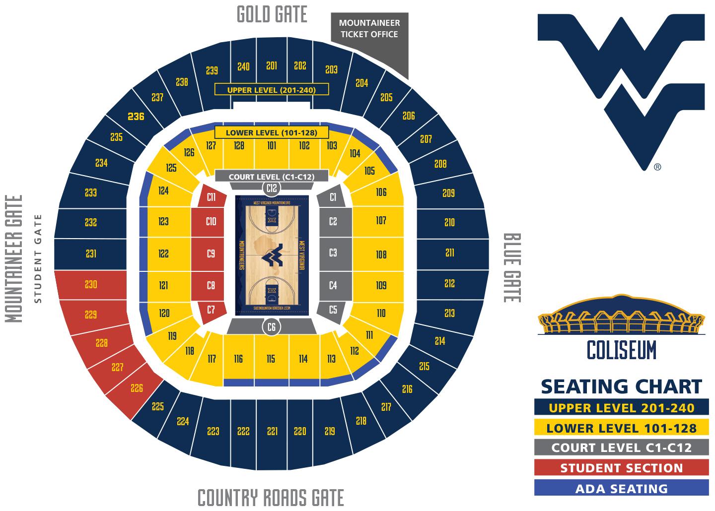 Basketball Seating Chart Wvu West Virginia Mountaineers