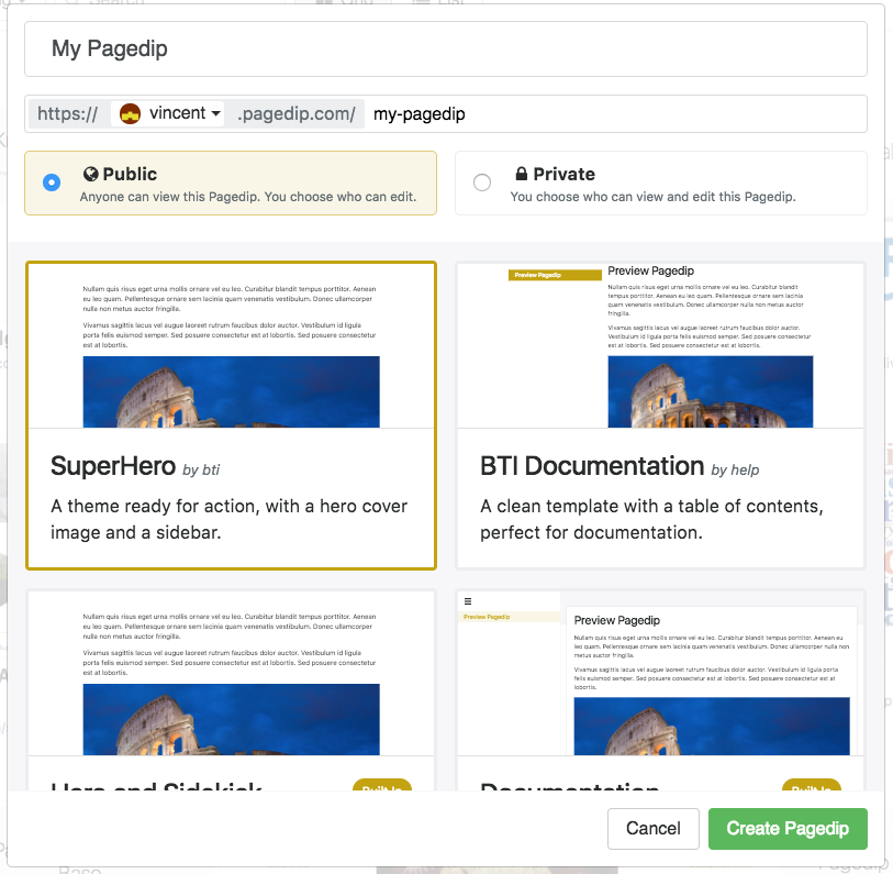 Create Pagedip