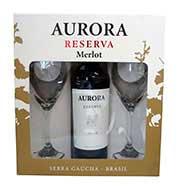 Vinho Aurora Reserva Merlot 750 ml + 2 Taças (kit)