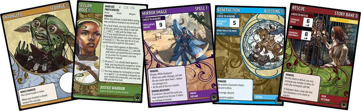 Screen captures of example cards from the Pathfinder Adventure Card Game Core Set