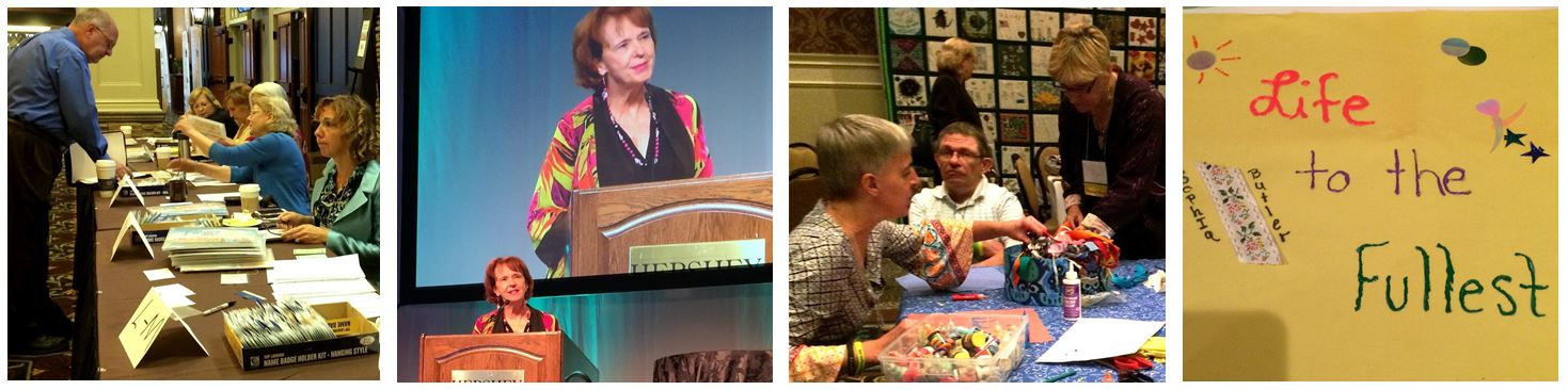 "Photos of conference activities; Check-in, Speaker, and ""Life to the Fullest"" quilt"