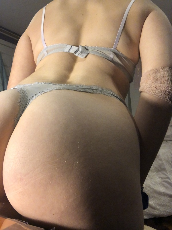 Nasty lacy grey thongs that basically EAT my ass 😝🍑💦