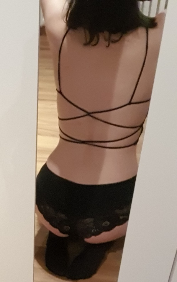 Black Lacey Bra, Panties And Stockings, Size S