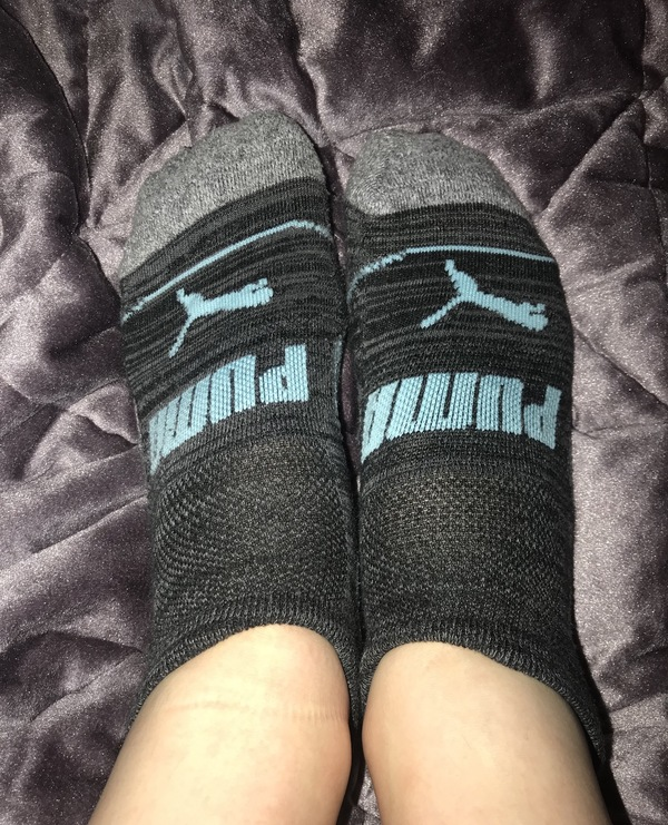 Gray and Light Blue Athletic Socks