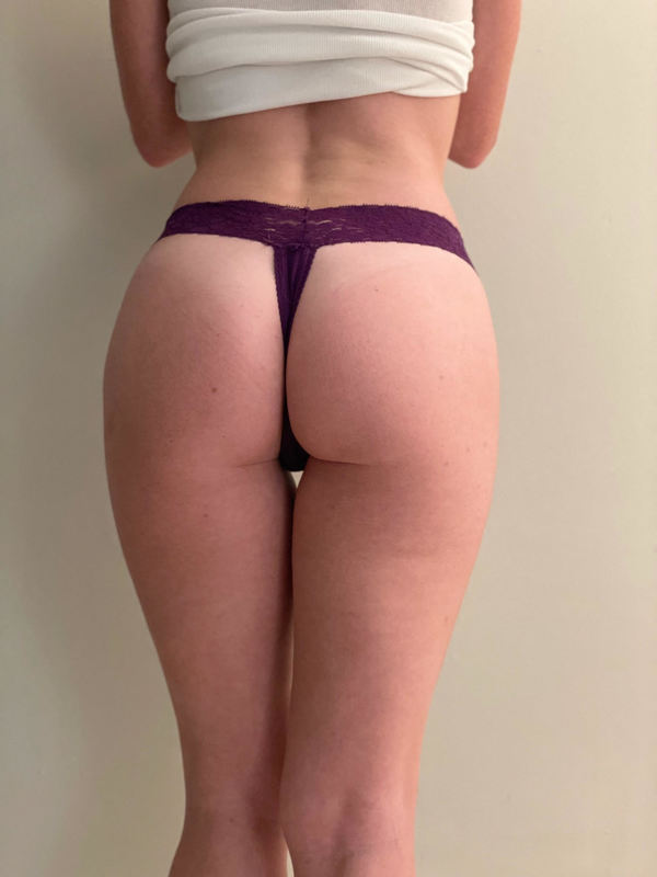 Purple lacy thong