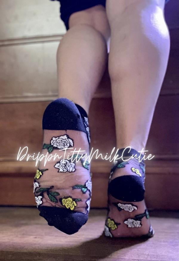 Sheer Black Rose Socks   2 Days
