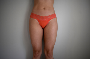 Coral lacy thong