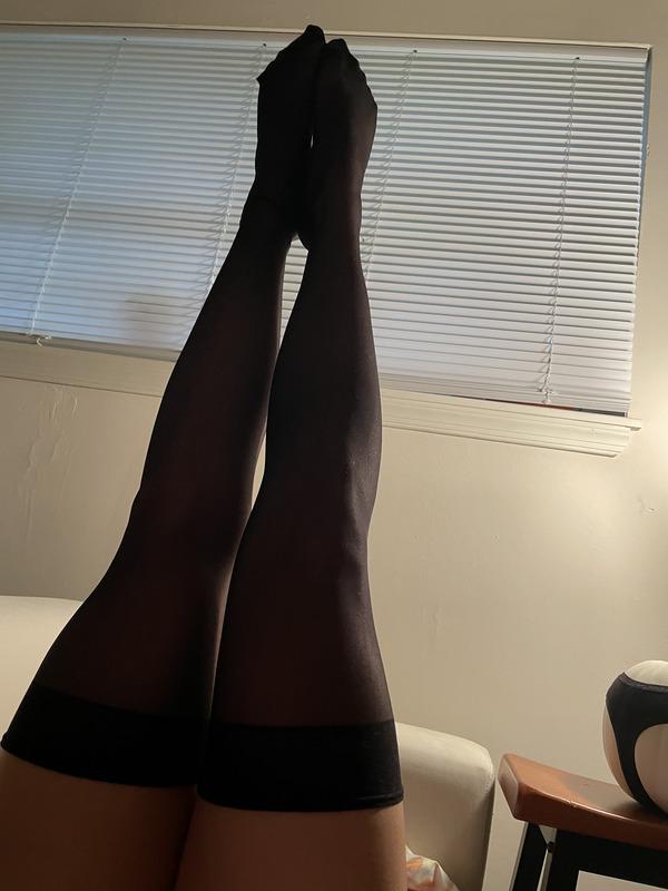 Black Nylon Thigh Highs/Feet Pics