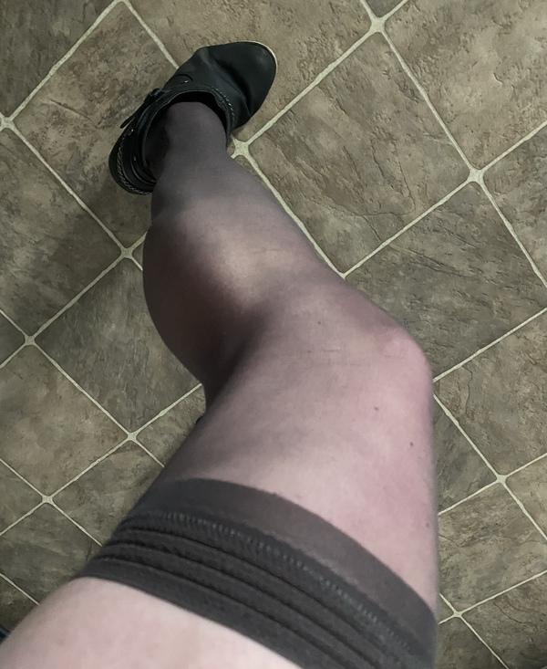 Sheer black thigh high stockings