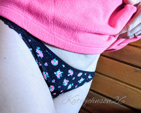 Black Thong with Little Roses