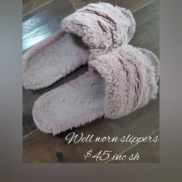 Well worn fluffy slippers