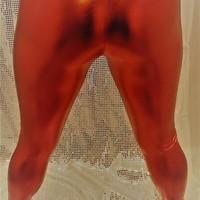 red metallic leggins