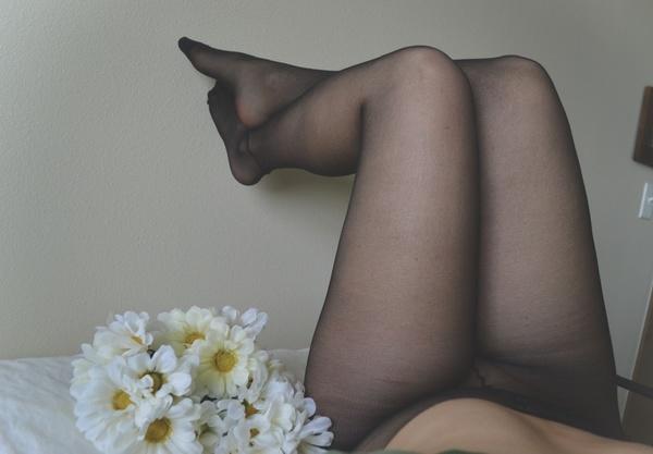 Deflowered Sheer Black Nylon Pantyhose