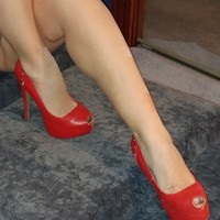 WORN OUT red heels with gold spikes sz6