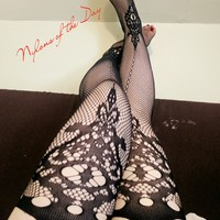 Sexy Patterned Fishnets with Garters