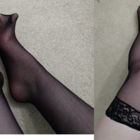 used black nylon thigh-high stockings