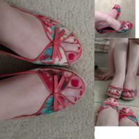 pink red teal floral peep toe heels