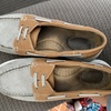 Gray suede and leather boat shoes