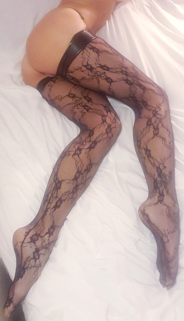 Black Lacey Stockings with Vinyl Tops
