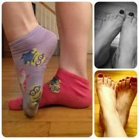 Pink and purple minion socks