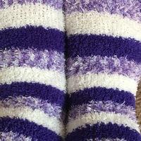 Fuzzy purple white striped socks