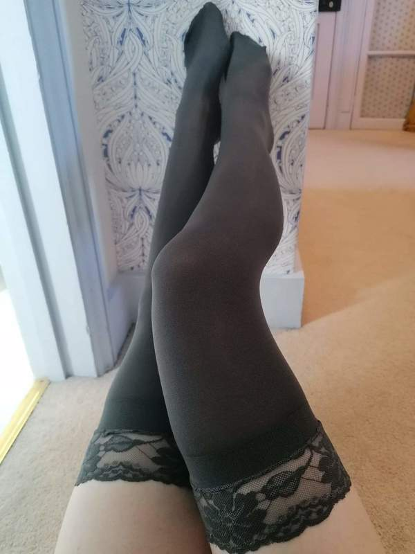 Grey lace stockings
