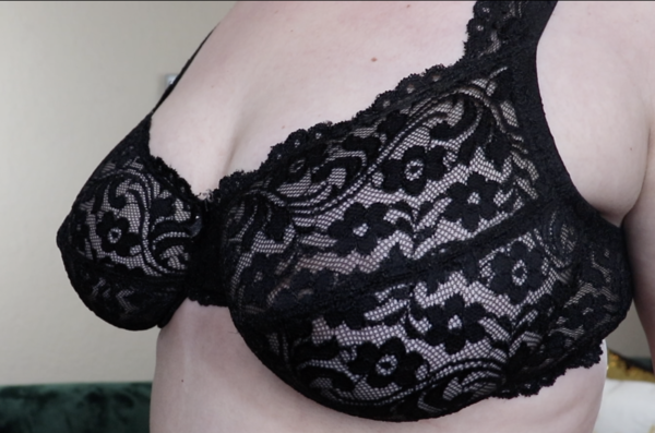 Sheer Black Lace Bra 36DD