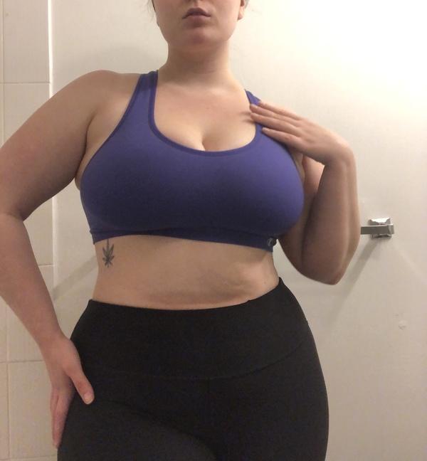 Worn out purple sports bra