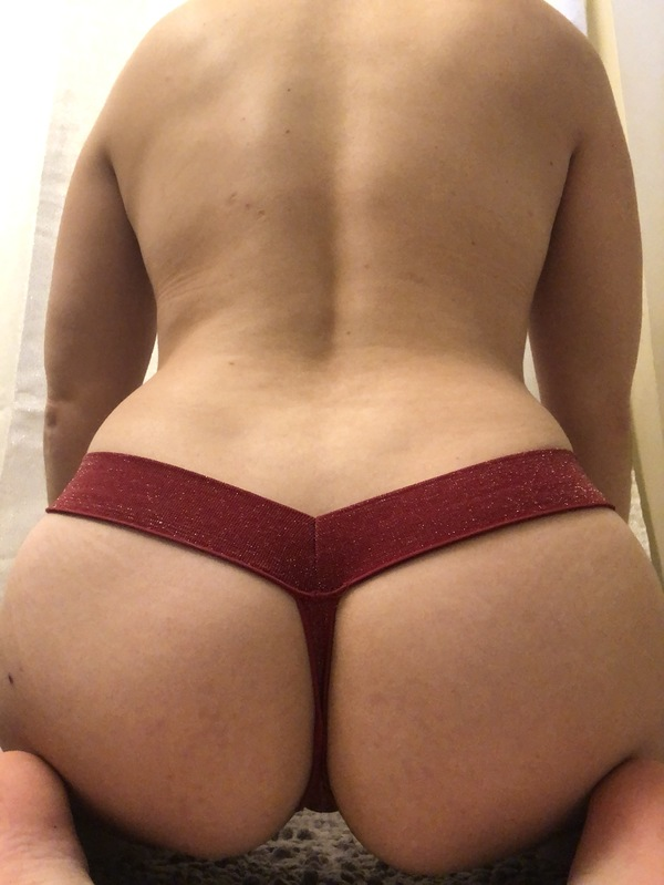 Textured red sparkly thong