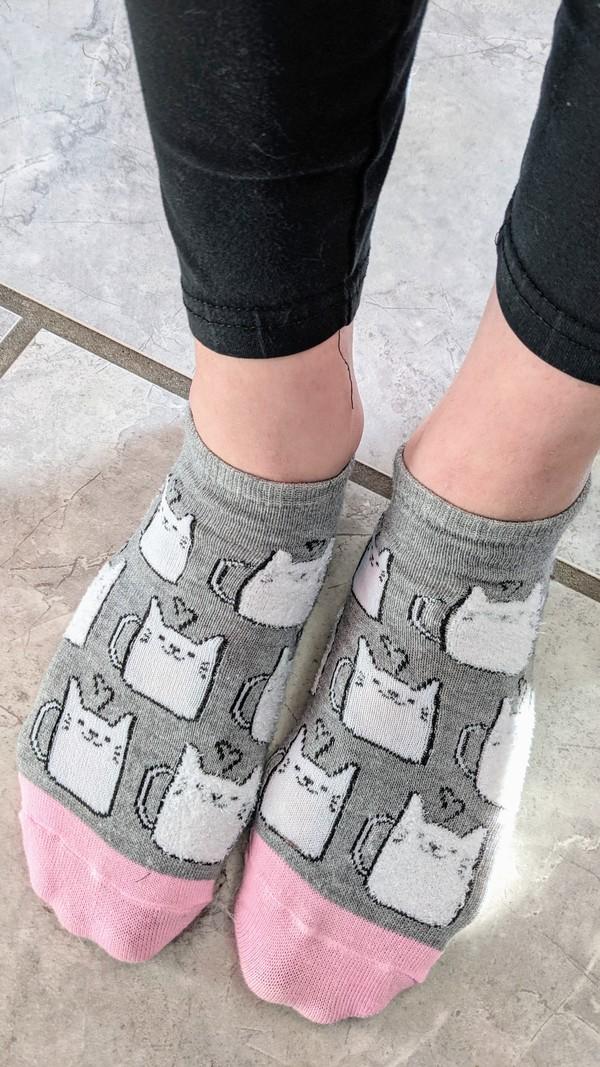 Grey and Pink Kittykat socks