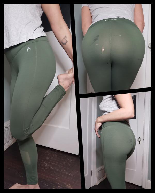 Head Camo Green Tights With Sheer Cutouts