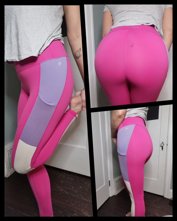 Fabletics Bright Pink Colour Block Tights With Pockets