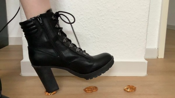 Black High Heeled Boots Crush Salty Snacks