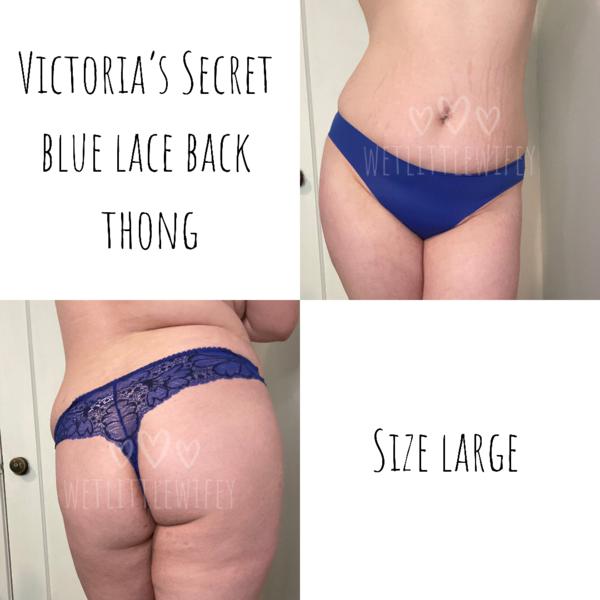 Blue lace back thong