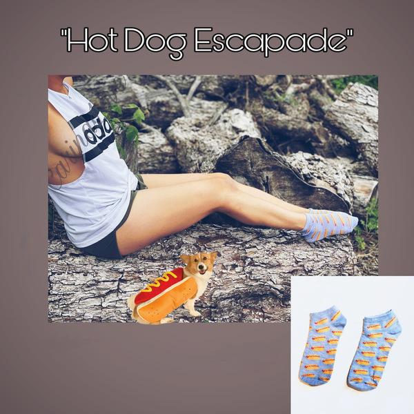 """Hot Dog Escapade"" Well Worn Socks"