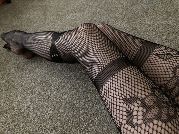 Fishnet crotchless stockings
