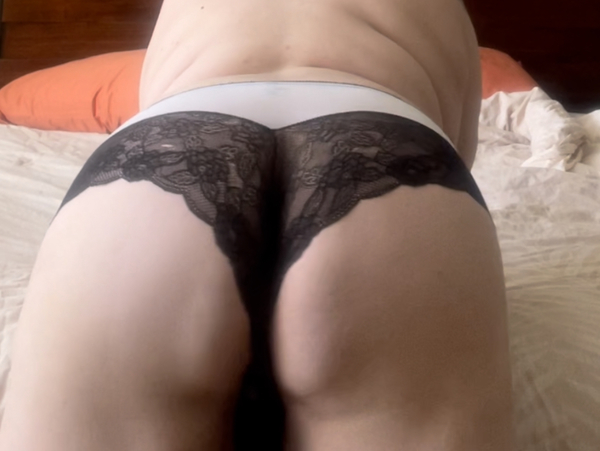 White with black lace cheeky panties