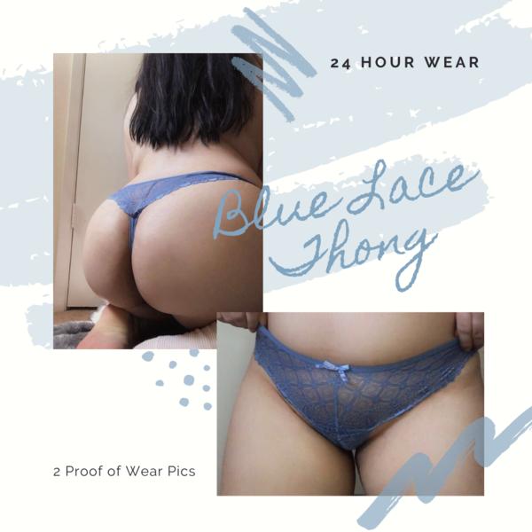 Blue Lace Thong
