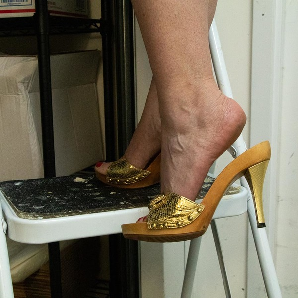 Gold and Wood Heels - Mature Woman's Well Worn Shoes - Size 8B