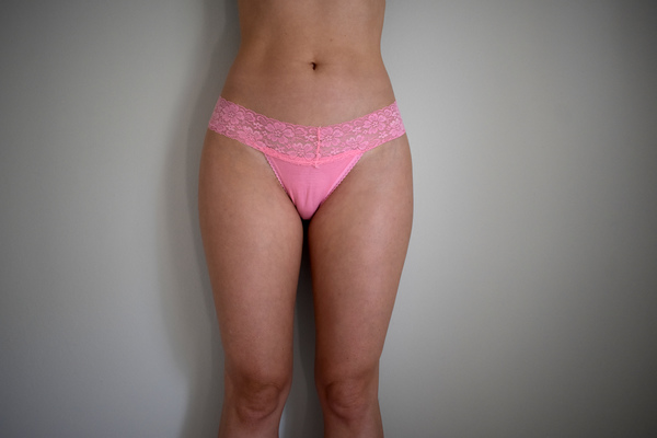 Pink lacy thong